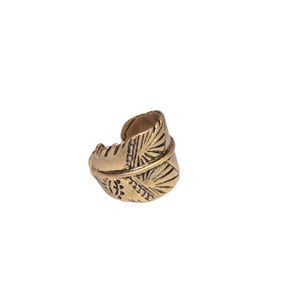 Gold Wide Ring, Indian feather ring, Boho ring